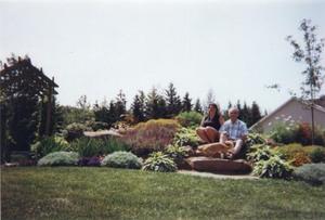 Jardin de Huguette et Julien Boilard en août 1998 à St-Apollinaire. Prise par Inconnu